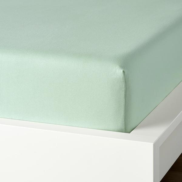 VÅRVIAL Fitted sheet, light green, 160x200 cm