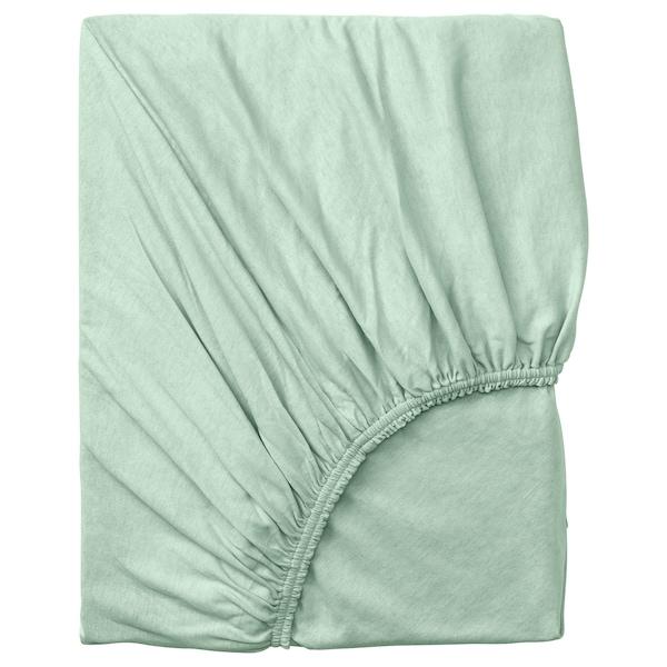 VÅRVIAL fitted sheet light green 200 cm 90 cm 26 cm