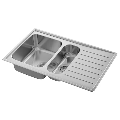 VATTUDALEN Inset sink, 1 ½ bowl w drainboard, stainless steel, 88x53 cm