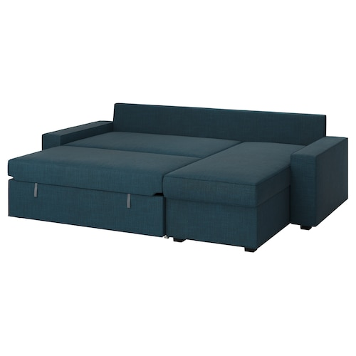 VILASUND sofa bed with chaise longue Hillared dark blue 240 cm 71 cm 88 cm 150 cm 62 cm 45 cm 140 cm 200 cm 9 cm