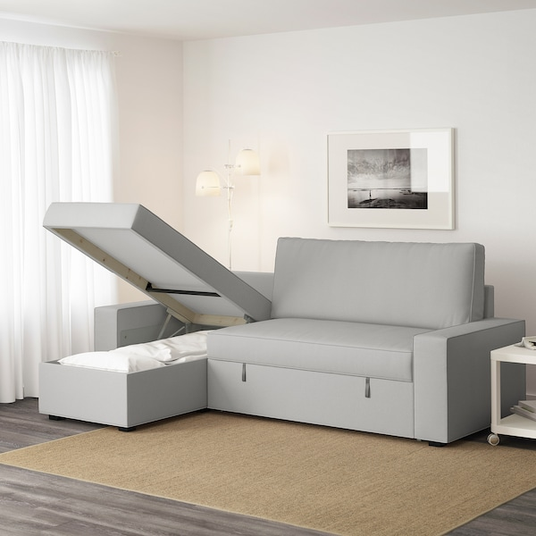 Ikea Chaise Longue Slaapbank.Vilasund Sofa Bed With Chaise Longue Orrsta Light Grey Ikea