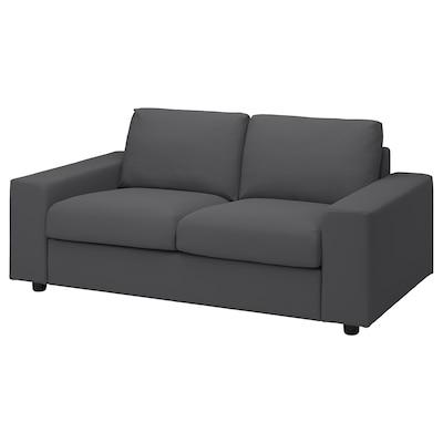VIMLE 2-seat sofa, with wide armrests/Hallarp grey