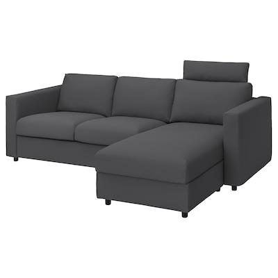 VIMLE 3-seat sofa with chaise longue, with headrest/Hallarp grey