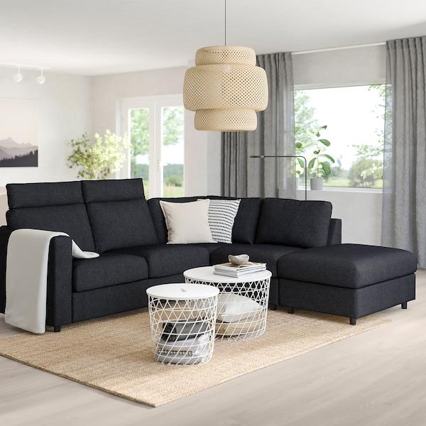 VIMLE corner sofa, 4-seat with open end with headrests/Tallmyra black/grey 103 cm 83 cm 68 cm 98 cm 235 cm 195 cm 192 cm 249 cm 6 cm 15 cm 68 cm 55 cm 48 cm