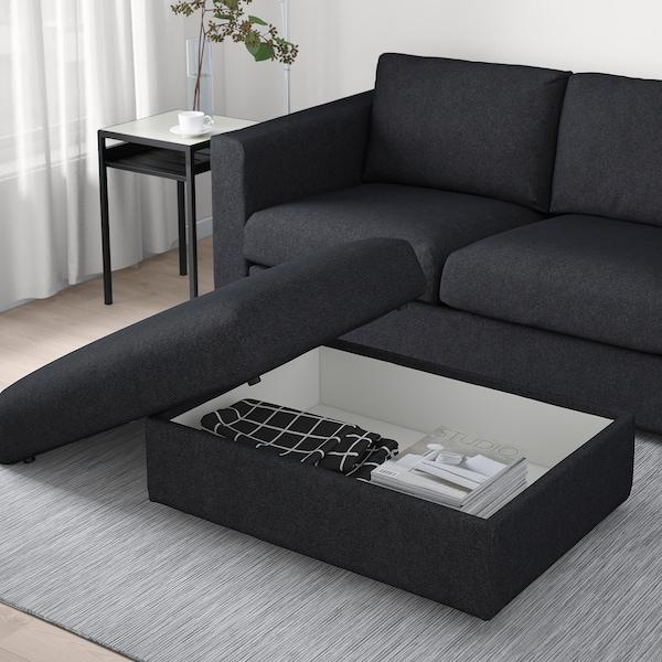 VIMLE Footstool with storage, Tallmyra black/grey