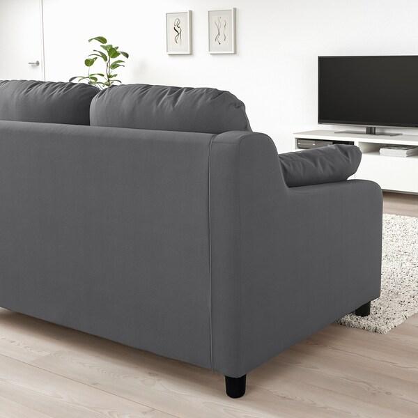 VINLIDEN 3-seat sofa with chaise longue, Hakebo dark grey