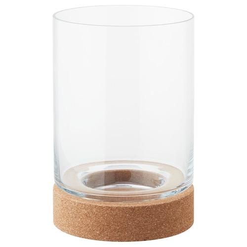 VINTERVÄDER block candle holder glass/cork 22 cm 15 cm