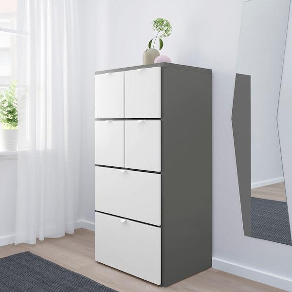 VISTHUS Chest of 6 drawers, grey/white, 63x126 cm