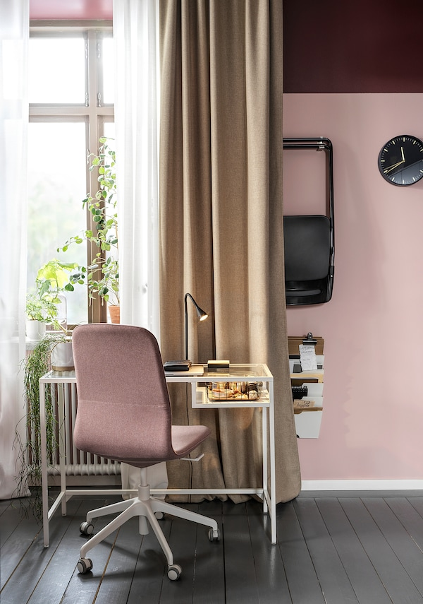 VITTSJÖ Laptop table, white/glass, 100x36 cm