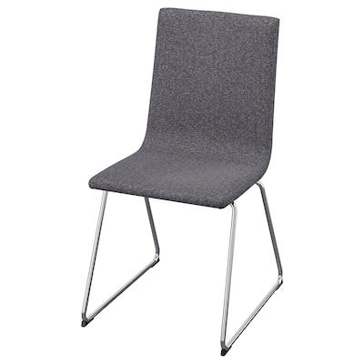 VOLFGANG Chair, chrome-plated/Gunnared medium grey