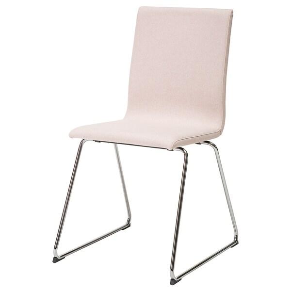 Volfgang Chair Chrome Plated Gunnared Pink Light Brown Pink Ikea