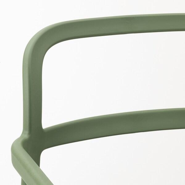 YPPERLIG chair with armrests, in/outdoor green 100 kg 55 cm 51 cm 83 cm 42 cm 43 cm 46 cm