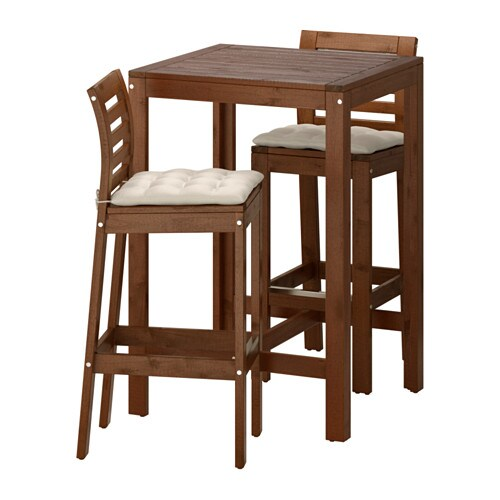 Applaro Mesa De Bar 2 Taburetes Bar Tinte Marron Hallo Beige Ikea
