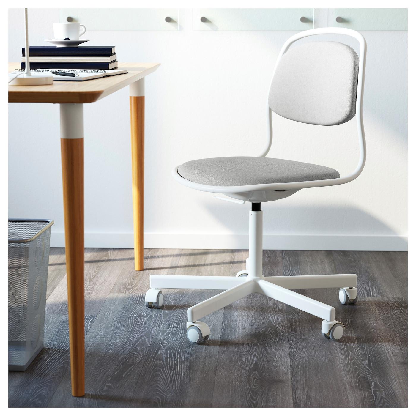 Rfj ll sporren silla giratoria blanco vissle gris claro - Sillas trabajo ikea ...