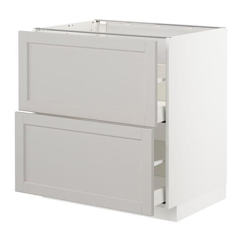 Armario bajo cocina 2 cajones - Lerh gris claro, 80x60 cm - IKEA