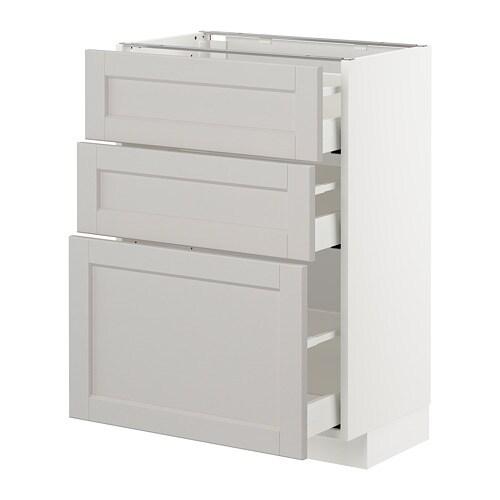 Armario bajo cocina con 3 cajones - Lerh gris claro, 60x37 cm - IKEA
