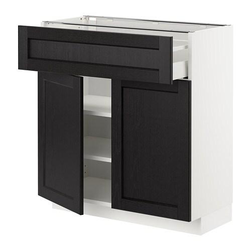 Armario bajo cocina 2 puertas caj n lerh tinte negro - Cocina armario ikea ...