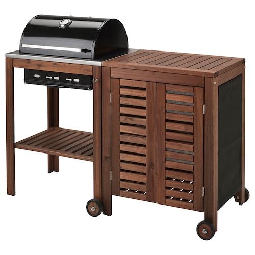 ÄPPLARÖ / KLASEN barbacoa de carbón + armario tinte marrón 145 cm 58 cm 109 cm