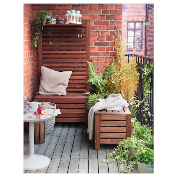ÄPPLARÖ Banco jardín con almacenaje tinte marrón 80 cm 41 cm 44 cm