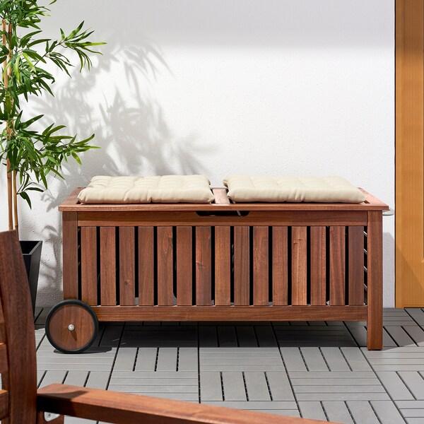 ÄPPLARÖ Banco jardín con almacenaje tinte marrón 128 cm 57 cm 55 cm