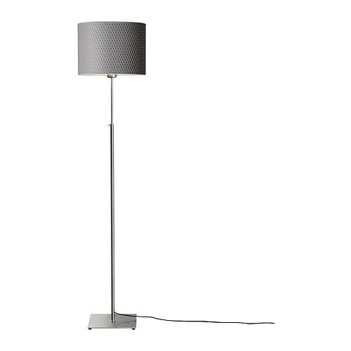 Lámpara de pie, niquelado, gris