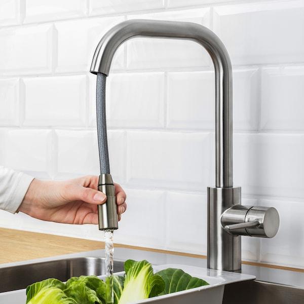 ÄLMAREN Grifo de cocina con ducha extraíble, col acinox