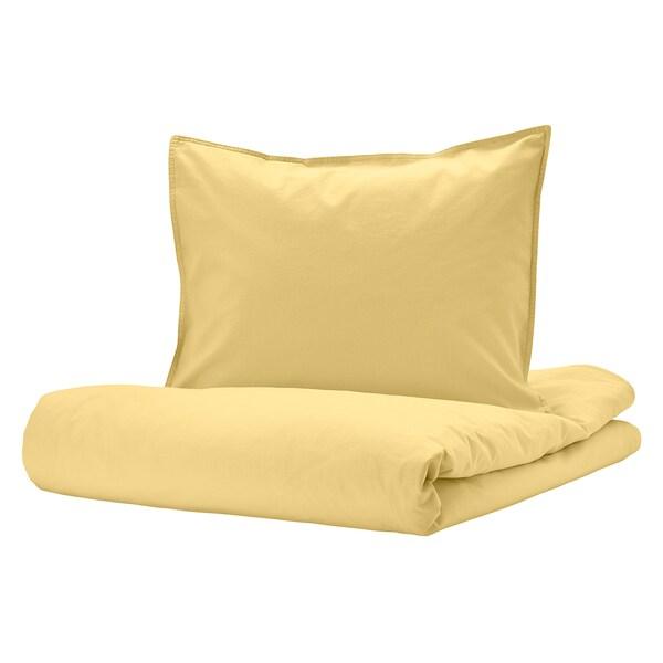 ÄNGSLILJA Funda nórdica y 2 fundas almohada, amarillo claro, 240x220/50x60 cm