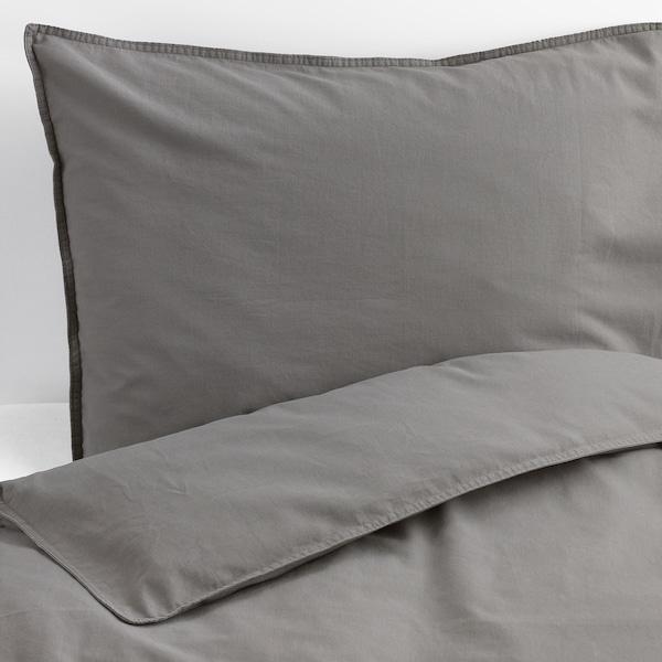 ÄNGSLILJA Funda nórdica +2 fundas almohada, gris, 240x220/50x60 cm