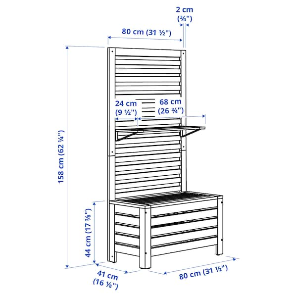 ÄPPLARÖ Banco+panel+baldas ext, tinte marrón, 80x44x158 cm