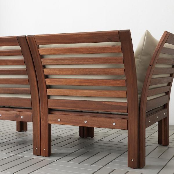 ÄPPLARÖ Sofá jardín modular 3 plazas, +reposapiés tinte marrón/Hållö beige, 143/223x80x78 cm