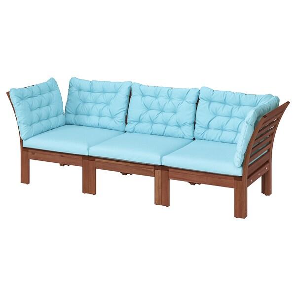 ÄPPLARÖ Sofá jardín modular 3 plazas, tinte marrón/Kuddarna azul claro, 223x80x80 cm