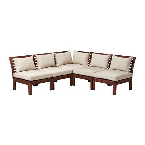 Pplar sof 5 plazas esquina exterior tinte marr n for Sofa exterior esquina