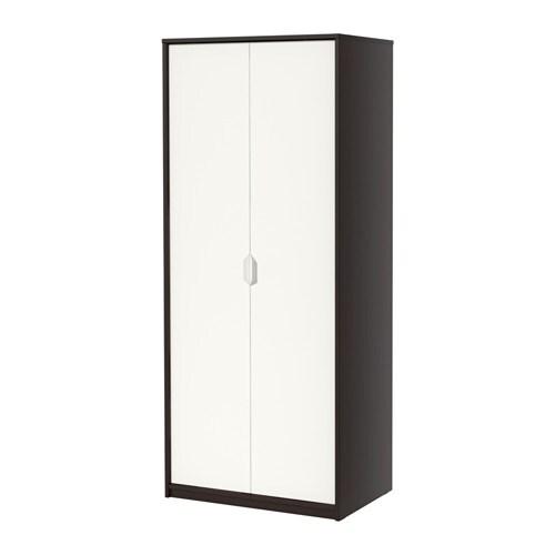 ASKVOLL Armario - negro-marru00f3n/blanco - IKEA