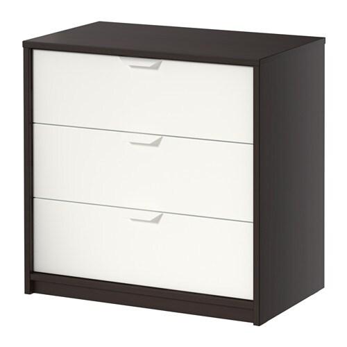 Askvoll c moda de 3 cajones negro marr n blanco ikea for Comodas en ikea