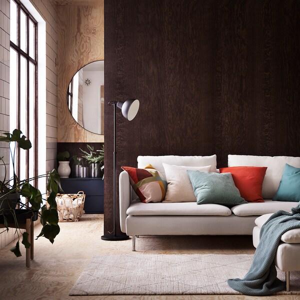 ÅSVEIG Funda de cojín, gris turquesa, 50x50 cm