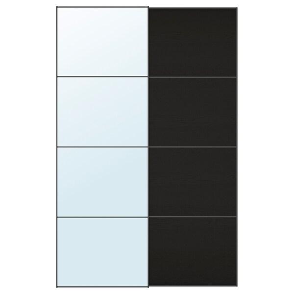AULI / MEHAMN puertas correderas, 2 uds espejo/efecto fresno tinte negro-marrón 150 cm 236 cm 8.0 cm 2.3 cm
