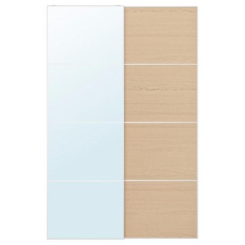 AULI / MEHAMN puertas correderas, 2 uds espejo/efecto roble tinte blanco 150 cm 236 cm 8.0 cm 2.3 cm