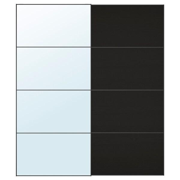 AULI / MEHAMN puertas correderas, 2 uds espejo/efecto fresno tinte negro-marrón 200 cm 236 cm 8.0 cm 2.3 cm