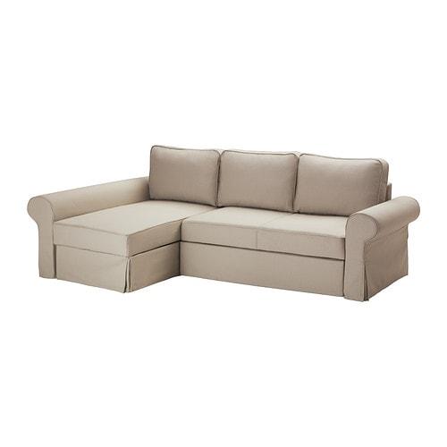 Backabro sof cama con chaiselongue tygelsj beige ikea for Sofa cama sin somier