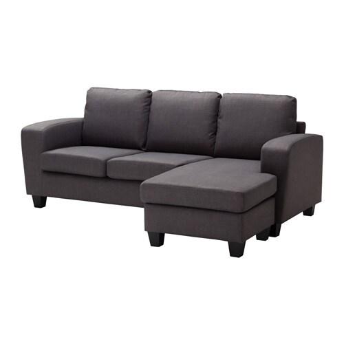 Sofá 2 plazas con chaiselongue, Skiftebo gris oscuro