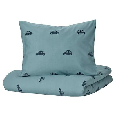 BARNDRÖM Funda nórdica +funda almohada, motivo automóvil/azul, 150x200/50x60 cm
