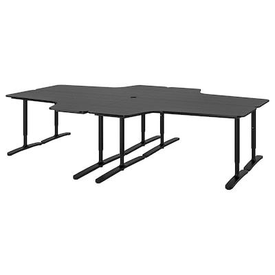 BEKANT Combinación escritorio, chapa fresno c/ tinte negro/negro, 320x220 cm