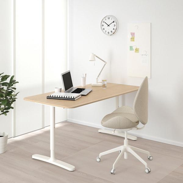 BEKANT Escritorio, chapa roble tinte blanco/blanco, 160x80 cm