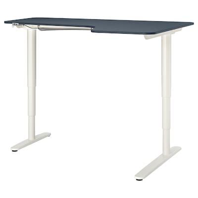 BEKANT Escritorio esquina der sentado/pie, linóleo azul/blanco, 160x110 cm