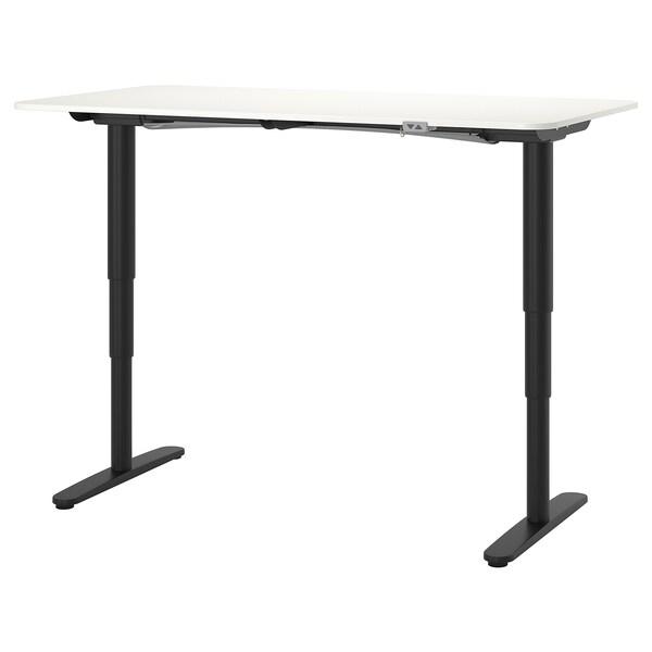 BEKANT Escritorio sentado/de pie, blanco/negro, 160x80 cm