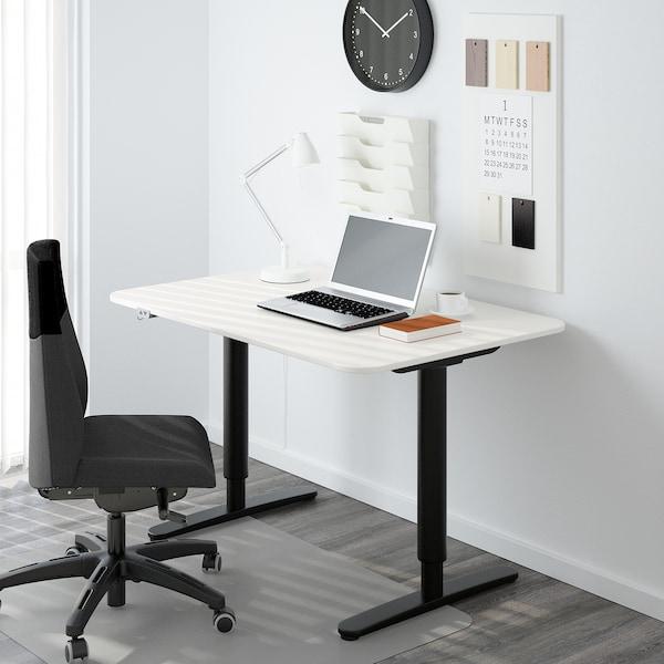 BEKANT Escritorio sentado/de pie, blanco/negro, 120x80 cm