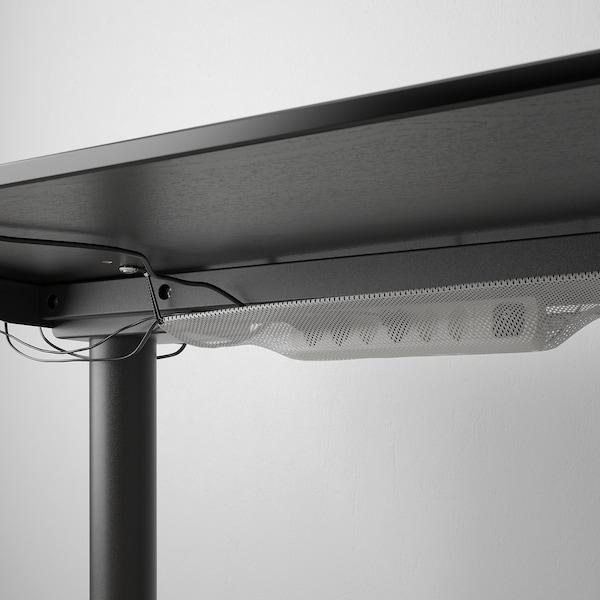 BEKANT Escritorio sentado/de pie, chapa fresno c/ tinte negro/negro, 160x80 cm