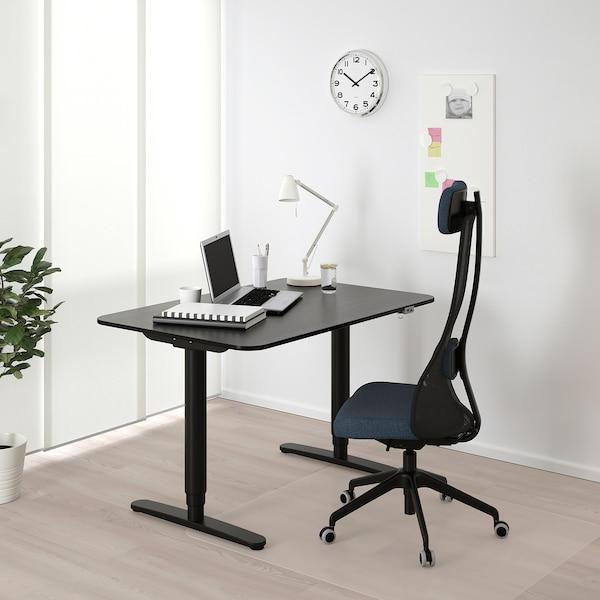 BEKANT Escritorio sentado/de pie, chapa fresno c/ tinte negro/negro, 120x80 cm
