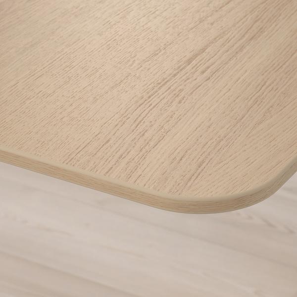 BEKANT Escritorio sentado/de pie, chapa roble tinte blanco/blanco, 160x80 cm