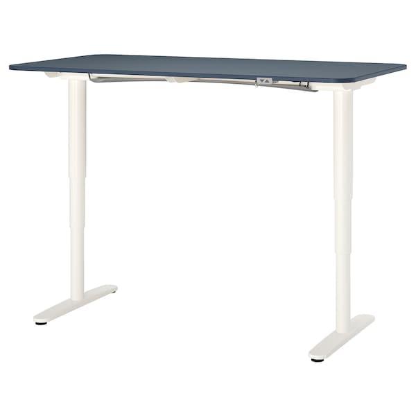 BEKANT Escritorio sentado/de pie, linóleo azul/blanco, 160x80 cm